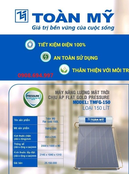 Máy nước nóng năng lượng mặt trời Tấm Phẳng Toàn Mỹ 150L
